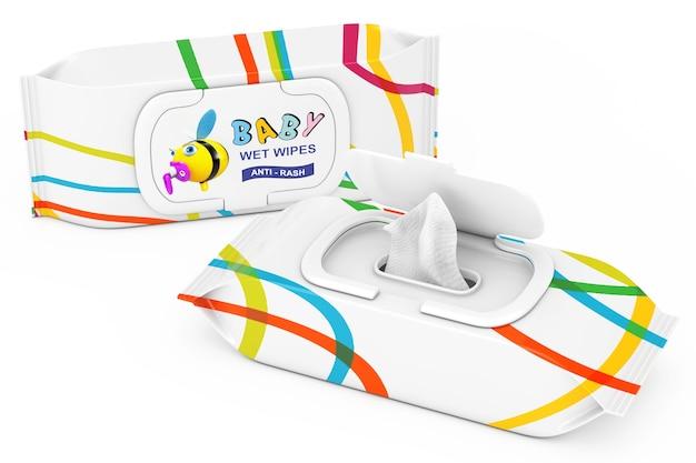 흰색 바탕에 아기 물티슈 패키지입니다. 3d 렌더링 프리미엄 사진