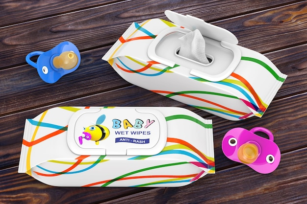 Baby wet wipes package with pacifiers on a wooden table. 3d rendering