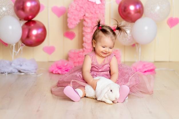 동물 토끼와 아기, 아기의 생일 1 년