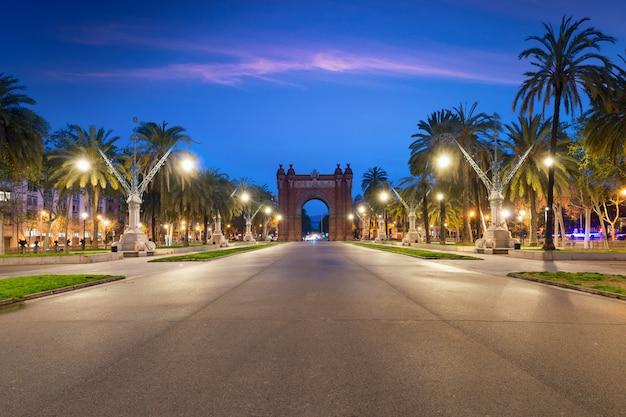 Bacelona arc de triomf at night in the city of barcelona in catalonia, spain.