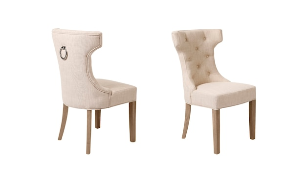 흰색 배경에 베이지 색 윙백 술로 장식 된 식당 의자의 후면 및 전면보기