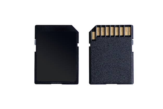 Вид сзади и спереди черной карты памяти sd, изолированные на белом фоне