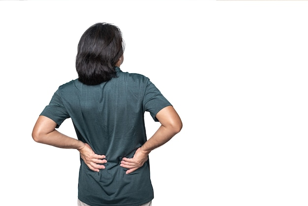 Back of asian man is suffering from waist  pain on white isolated background t
