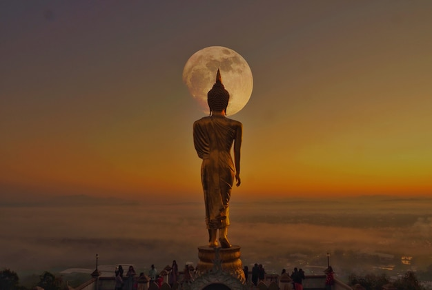 The back of the buddha in twilight