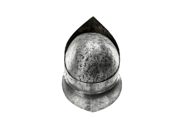 Back from above view of ancient iron spartan helmet isolated