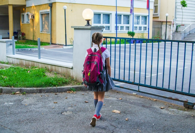 Back of girl child going to school with purple back pack.walking to the school gate