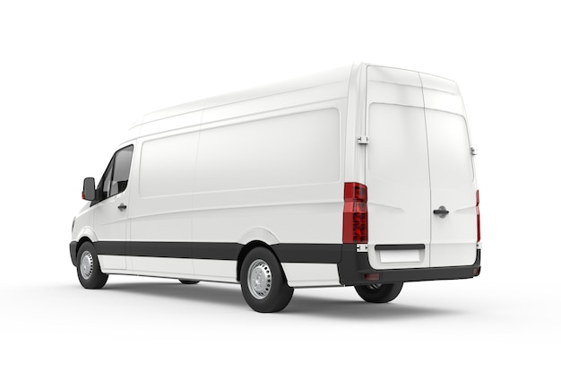Back and lateral view of a van, mockup