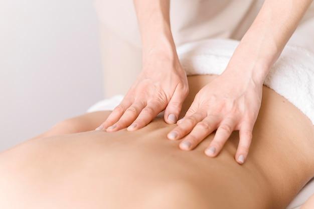 Back massage technique close-up