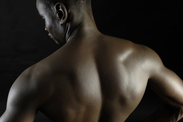 Back of a naked african boy