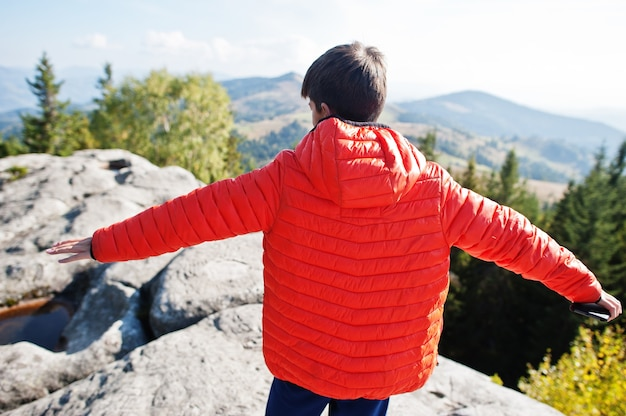 頂上の山の少年の背中。山で美しい日にハイキングをしたり、岩の上で休んだり、素晴らしい景色の頂上を眺めたりする子供たち。子供とのアクティブな家族の休暇の余暇。屋外の楽しさと健康的な活動。