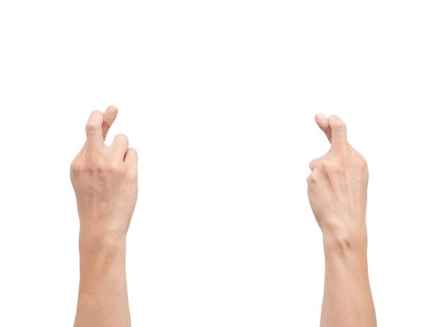 손의 뒷면 크로스 손가락 흰색 절연