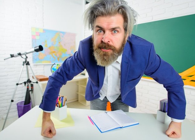 Back to school angry teacher in classroom learning education school concept september teacher
