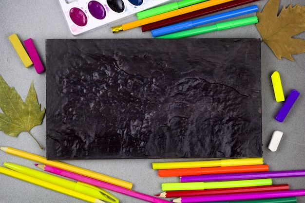 Back to school background chalk board and  stationery