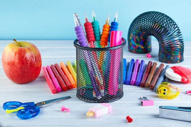 Back to school background with accessories for the schoolroom