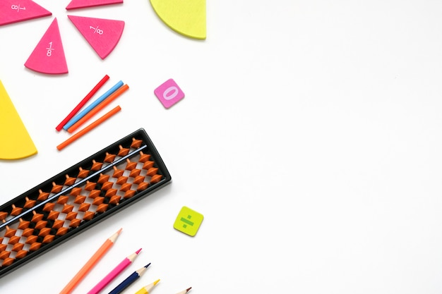 Back to school background with place for text. mathematics education equipment tools. study concept.