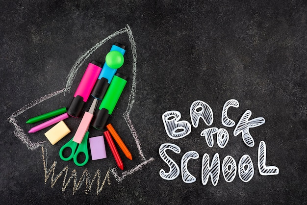 Back to school background with rocketship