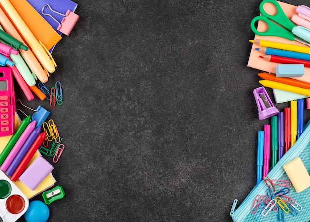 Back to school background with school supplies and copy space