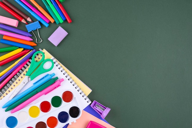 Back to school background with school supplies and copy space Free Photo