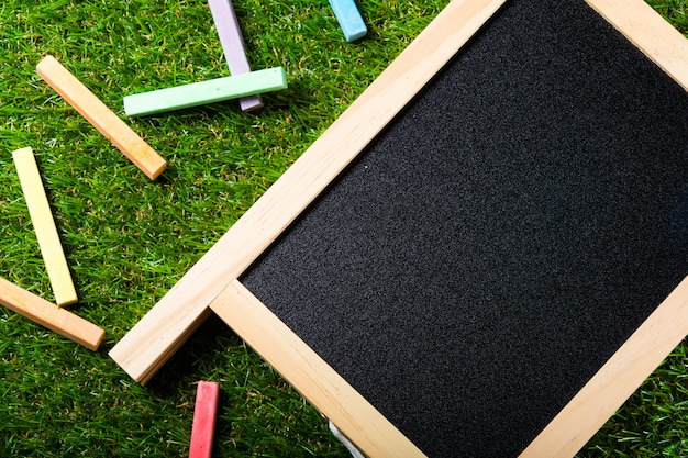 Back to school, blackboard layout and accessories