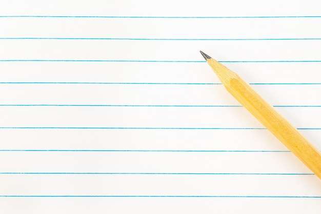 Back to school, blank note paper with pencil background