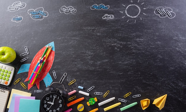 Back to school composition with blackboard