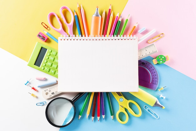 Back to school composition with stationery and supplies