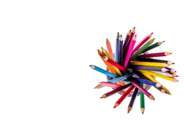Back to school concept  color pencils isolated on white background