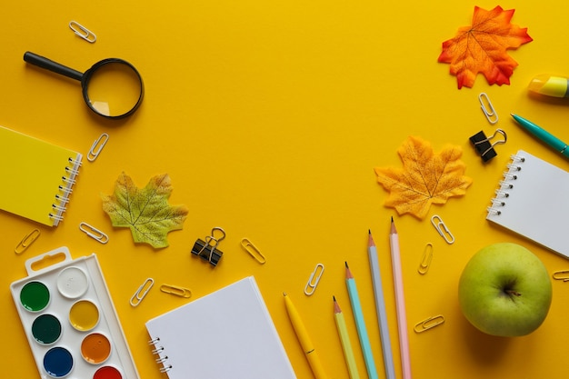 Back to school concept flat lay with different school supplies