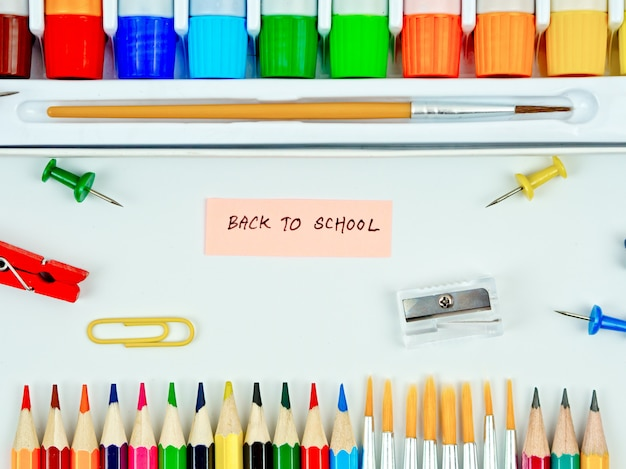 Back to school concept idea, stationary equipment set for back to school concept