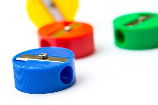 Back to school concept  mix colors pencil sharpener