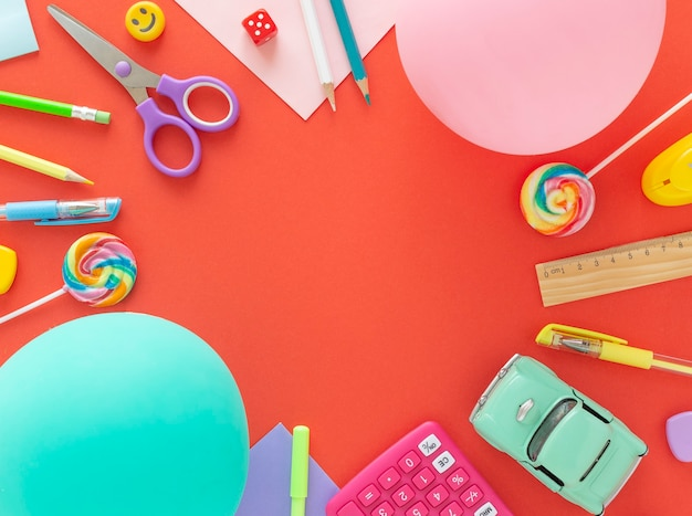 Back to school concept, online education, parenting, stay home, on a coral background
