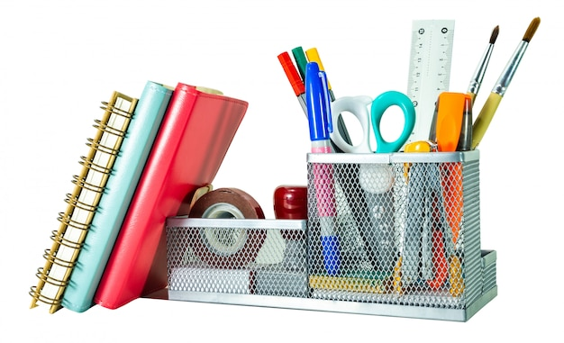 Back to school concept. pencil, pen and supplies in holder  on white background isolated clipping path