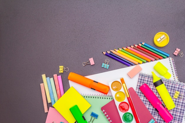Back to school concept. school education supplies