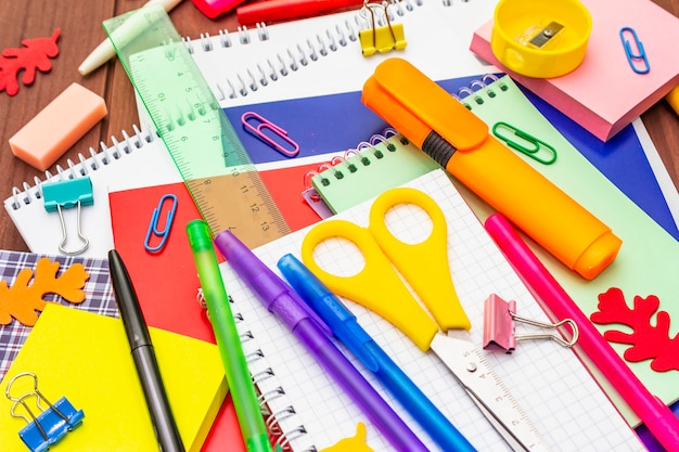 Back to school concept. school education supplies