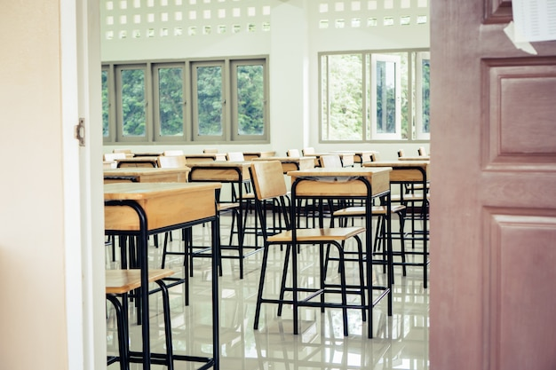 Back to school concept. school empty classroom