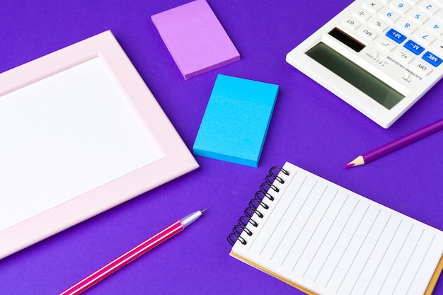 Back to school concept, school and office supplies on office table