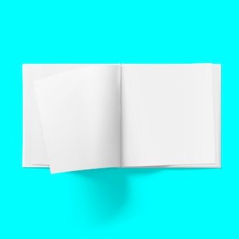 Back to school concept - top view of blank hard cover book middle open on tosca background desk for mockup