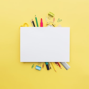 Back to school conceptual flat lay with different office supply objects and copy space area for text. concept for primary and secondary school pupil. high quality photo