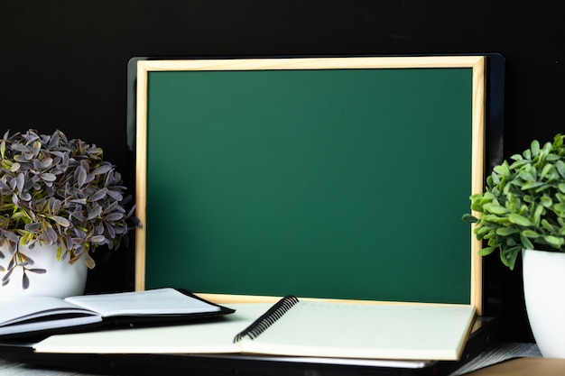Back to school and education concept, green chalkboard