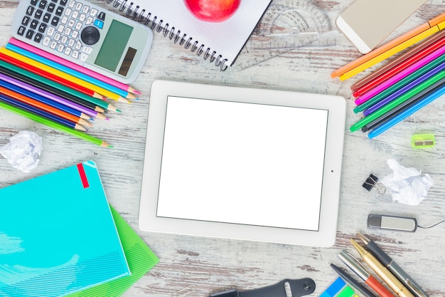 Back to school frame with school supplies