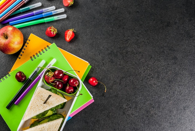 Back to school. a hearty healthy school lunch in a box  top view