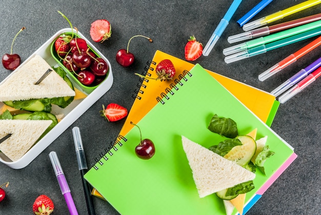 Back to school. a hearty healthy school lunch in a box