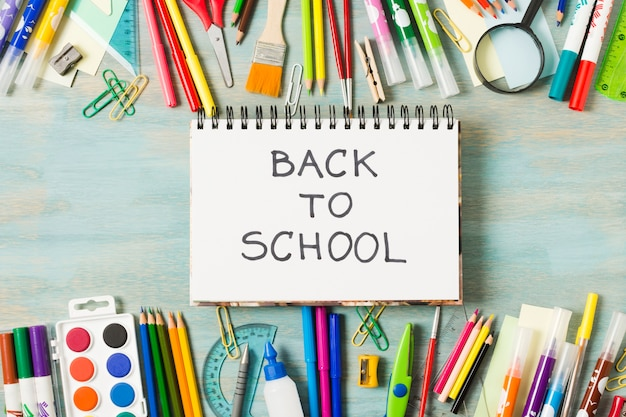 Back to school materials stationeries
