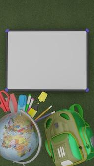Back to school promotional wallpaper. 3d rendering.