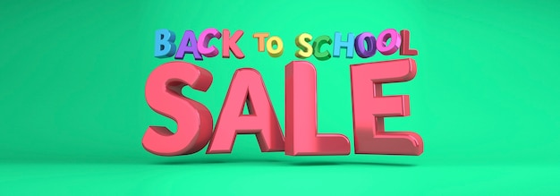 Back to school sale banner colorful banner. 3d rendering.