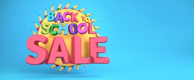 Back to school sale banner colorful education items and space for text in a background. 3d rendering.