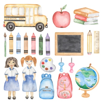 Back to school set clipart, watercolor school bus, teacher, girl, books, school supplies, crayon illustration, stationery, education, globe, kids art