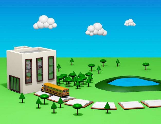 Back to school with bus, book road, school grounds and cartoon style trees
