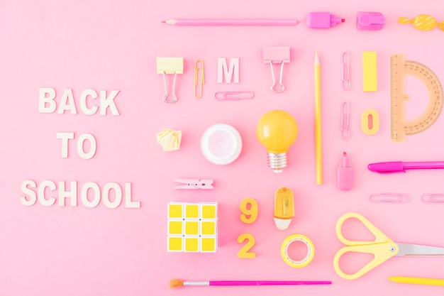 Back to school writing near stationery