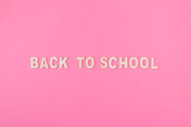 Back to school writing on pink